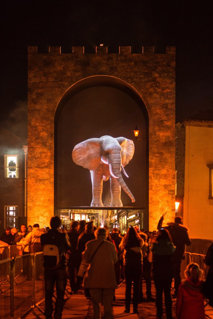 A large-scale installation projects a 3D elephant on an imaginary journey above Elvet Bridge in Durham.