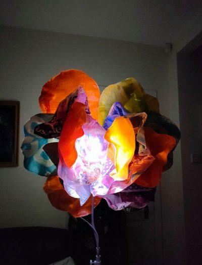 A flower made of plastic lit up